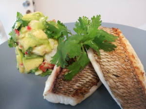 Chargrilled snapper with a mango, prawn & chilli salsa