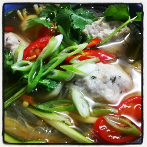 Chicken dumplings in broth