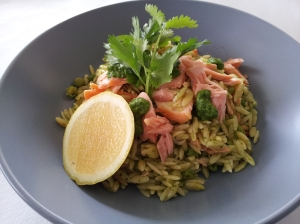 Smoked salmon & pea risoni with coriander mojo