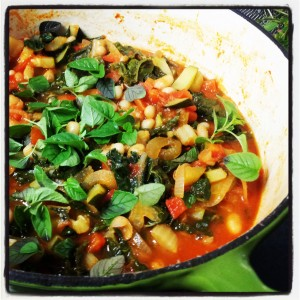 Greek bean & silverbeet stew